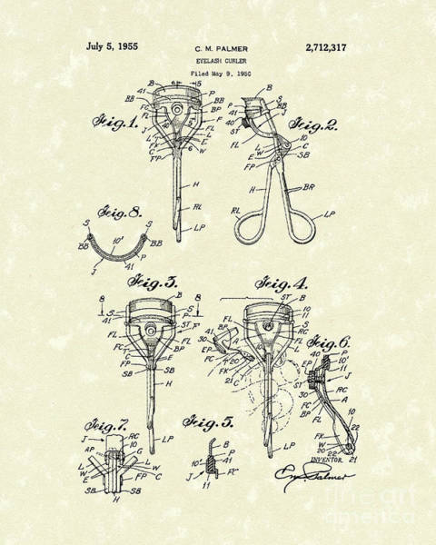 Eyelashes Wall Art - Drawing - Eyelash Curler 1955 Patent Art by Prior Art Design