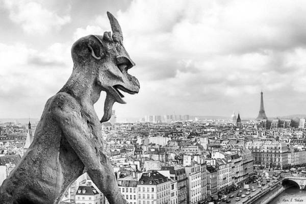 Photograph - Eyes On The Horizon - Gargoyles Of Paris by Mark E Tisdale