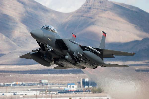 F-15e Strike Eagle Flying Past Mountains Art Print by CT757fan