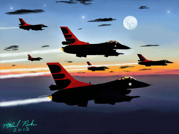 Digital Art - F-16 Vipers by Michael Rucker