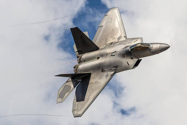 Elmendorf Photograph - F-22 Raptor Over Anchorage by Liz Matzelle
