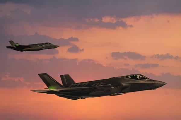 F-35 Fıghter Jets In Flight At Sunset Art Print by Guvendemir