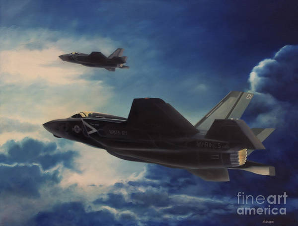 Lightening Painting - F-35b Lightening II by Stephen Roberson