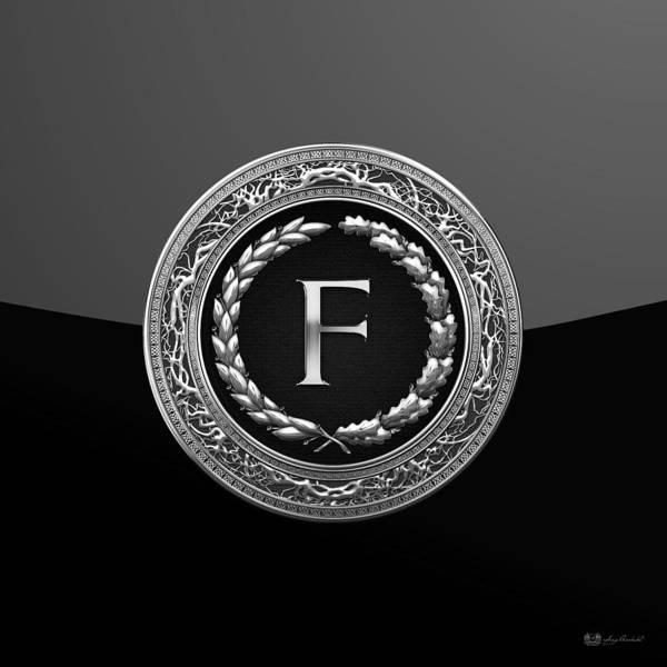 Digital Art - F - Black Silver Vintage Monogram On Modern Glossy Black by Serge Averbukh