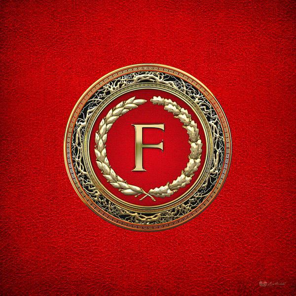 Digital Art - F - Gold Vintage Monogram On Red Leather by Serge Averbukh