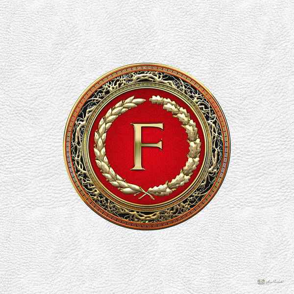 Digital Art - F - Gold Vintage Monogram On White Leather by Serge Averbukh
