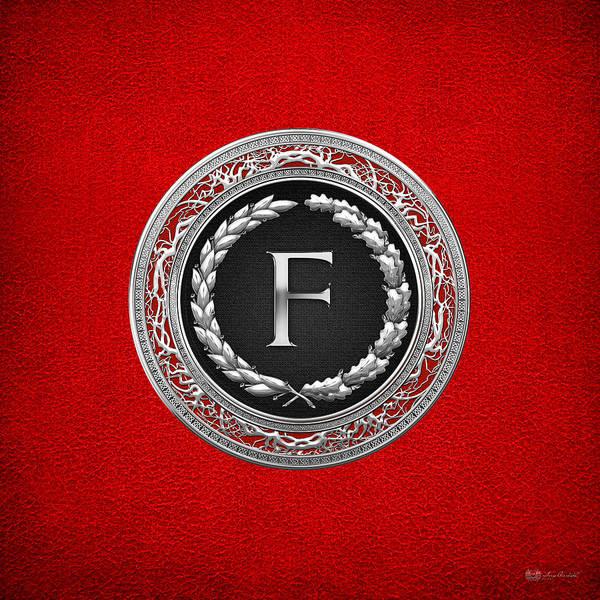 Digital Art - F - Silver Vintage Monogram On Red Leather by Serge Averbukh