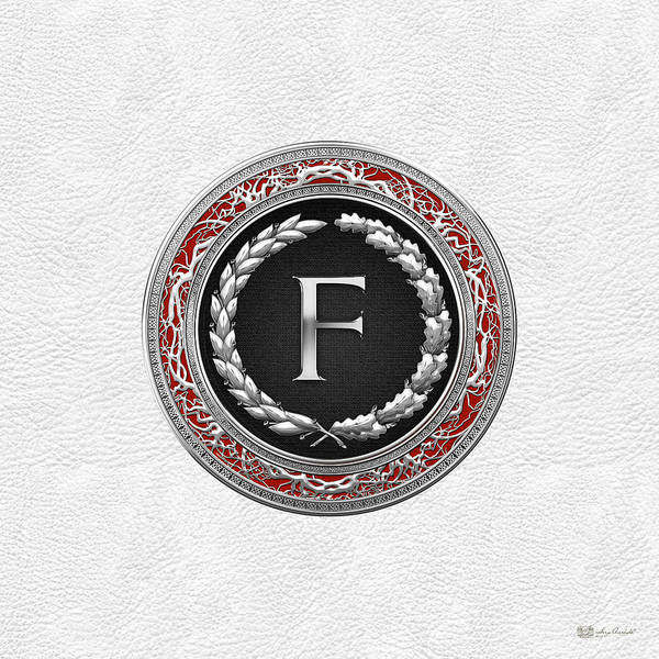 Digital Art - F - Silver Vintage Monogram On White Leather by Serge Averbukh
