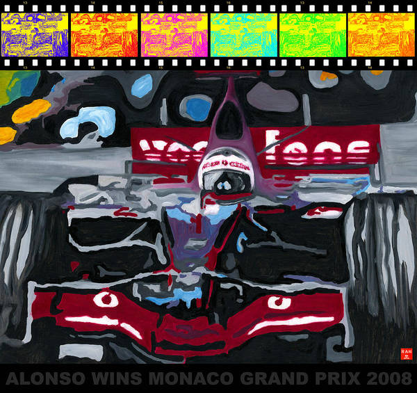 Painting - F1 Alonso Wins Monaco 2008 Pop 2 by Ran Andrews