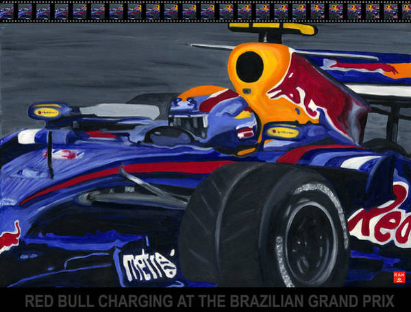 Painting - F1 Rbr At The Brazilian Grand Prix by Ran Andrews