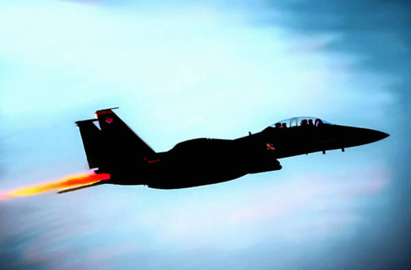 Painting - F15e Strike Eagle Night Mission  by Bob and Nadine Johnston