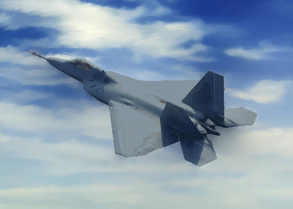 Photograph - F22  Raptor Climbing In The Clouds by Bob and Nadine Johnston