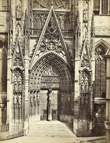 Notre Dame Drawing - Façade Of Notre Dame In Rouen France, Anonymous by Artokoloro