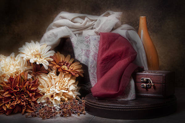 Orange Wood Photograph - Fabric And Flowers Still Life by Tom Mc Nemar