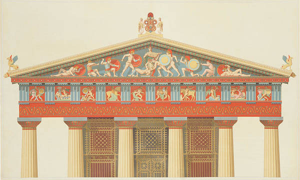 Reliefs Wall Art - Drawing - Facade Of The Temple Of Jupiter by Daumont