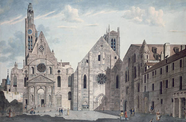 Facade Painting - Facades Of The Churches Of St Genevieve And St Etienne Du Mont by Angelo Garbizza