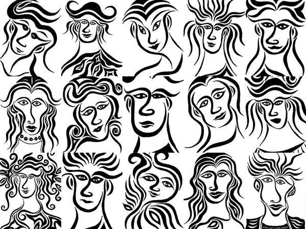 Drawing - Face Dances by Beth Akerman