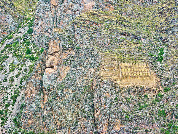 Wall Art - Photograph - Face In Mountain And Inca Storage Buildings In Ollantaytambo-peru  by Ruth Hager