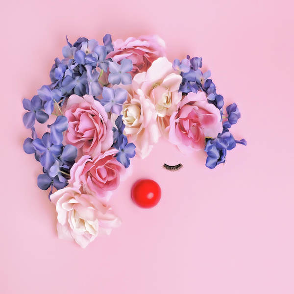 Face Made From Flowers And False Art Print by Juj Winn