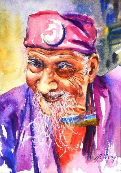 Painting - Face Of Wisdom by Betty M M   Wong