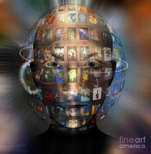 Photograph - Face Surrounded By Images by Mike Agliolo