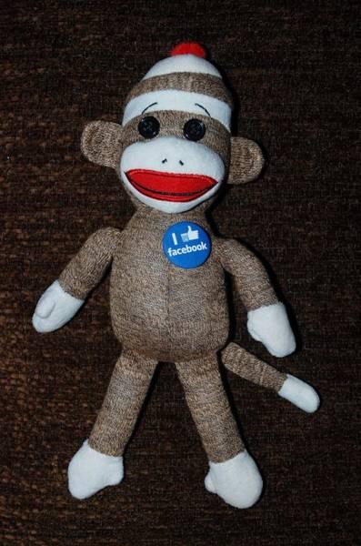 Sock Monkey Photograph - Facebook Sock Monkey by Rob Hans