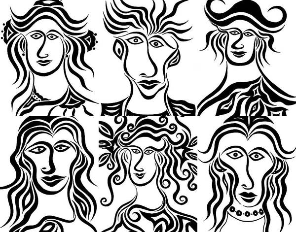 Drawing - Faces In Ink by Beth Akerman