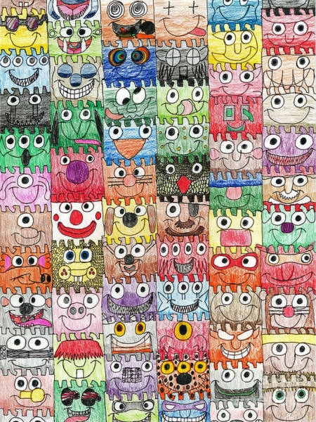 Eye Drawing - Faces Puzzle Poster by Paul Fields