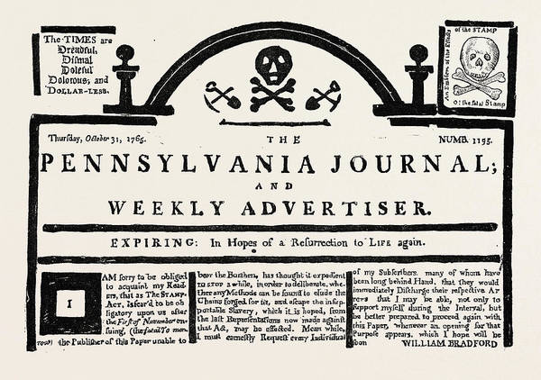 Tile Drawing - Facsimile Of The  Pennsylvania Journal  On The Stamp Act by English School