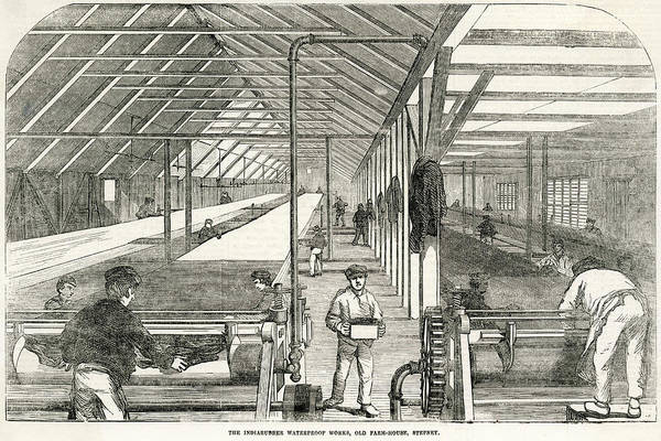 Wall Art - Drawing - Factory Interior Indiarubber Waterproof by  Illustrated London News Ltd/Mar