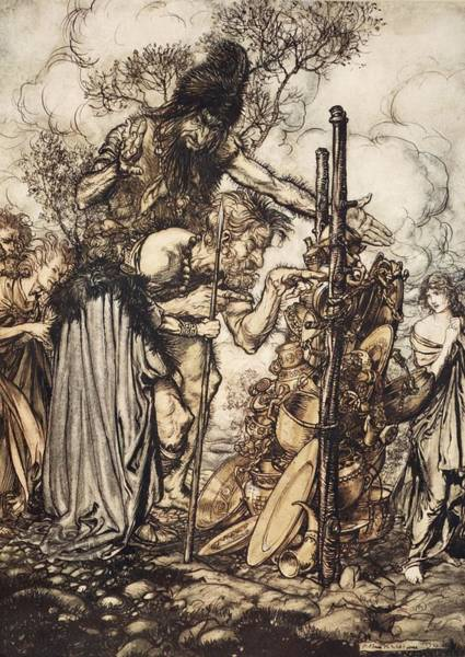 Goddess Drawing - Fafner Hey! Come Hither, And Stop by Arthur Rackham