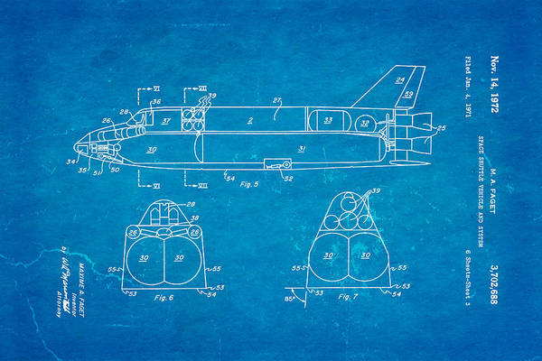 1972 Photograph - Faget Space Shuttle Vehicle 3 Patent Art 1972 Blueprint by Ian Monk