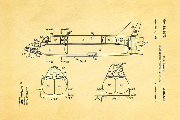 1972 Photograph - Faget Space Shuttle Vehicle 3 Patent Art 1972 by Ian Monk