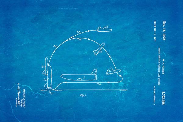 1972 Photograph - Faget Space Shuttle Vehicle Patent Art 1972 Blueprint by Ian Monk