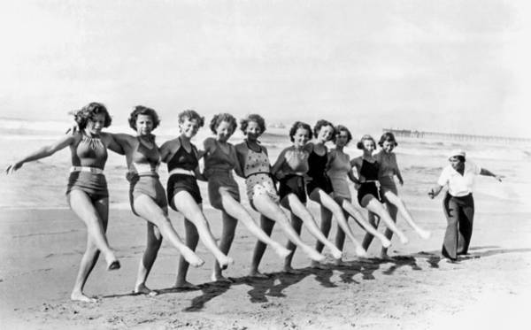 Wall Art - Photograph - Fair Maidens Beach Dancing by Underwood Archives