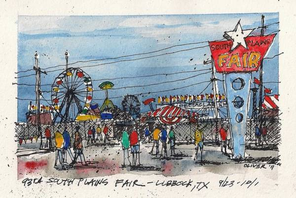 Pen And Ink Mixed Media - Fair Time by Tim Oliver