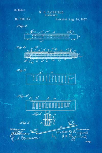 Fairfield Photograph - Fairfield Harmonica Patent Art 1897 Blueprint by Ian Monk