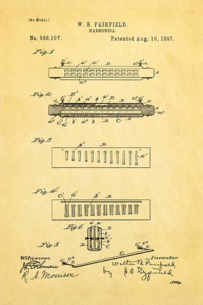 Fairfield Photograph - Fairfield Harmonica Patent Art 1897 by Ian Monk