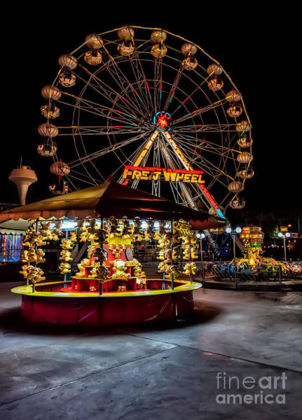 Fairground Photograph - Fairground At Night by Adrian Evans