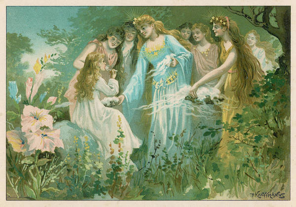 Mist Drawing - Fairies Feed An Earth-child On by Mary Evans Picture Library