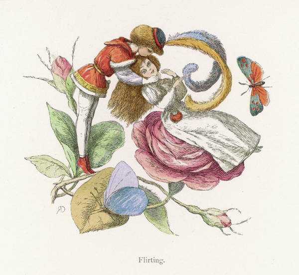 Flirting Drawing - Fairies Flirting          Date 1875 by Mary Evans Picture Library