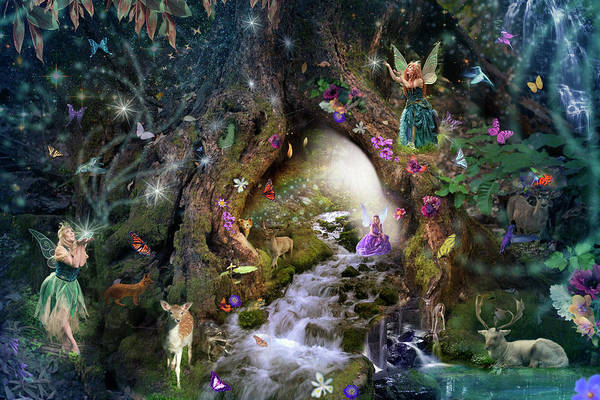 Woodland Drawing - Fairy Hollow by MGL Meiklejohn Graphics Licensing