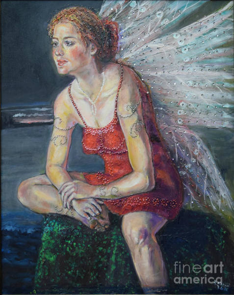 Painting - Fairy On A Stone by Raija Merila