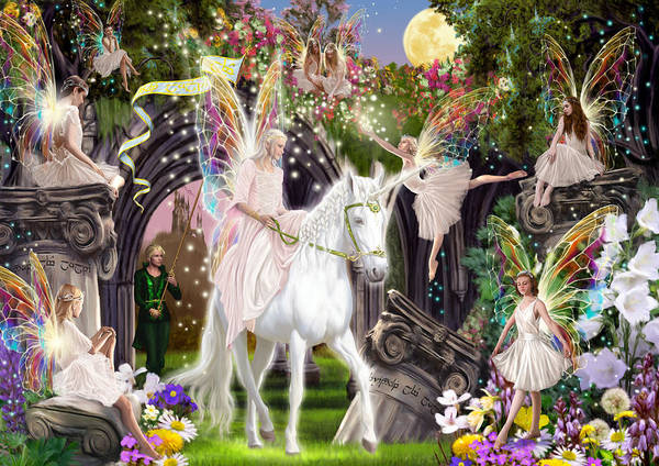 Wall Art - Photograph - Fairy Queen With Unicorn by MGL Meiklejohn Graphics Licensing