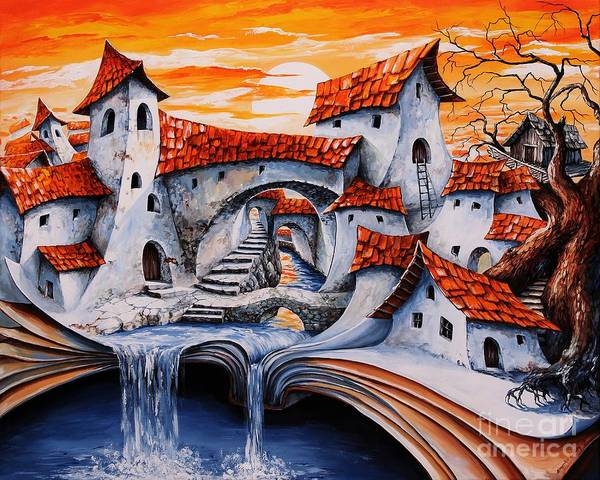 Tale Painting - Fairy Tale City - Magic Stream by Emerico Imre Toth