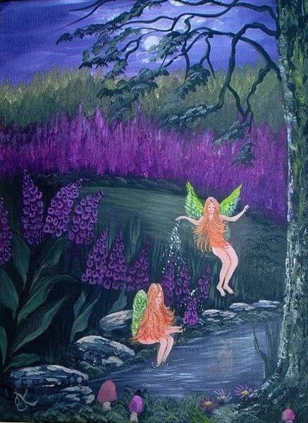 Comission Painting - Fairy Thimbles 2 by Fineartist Ellen