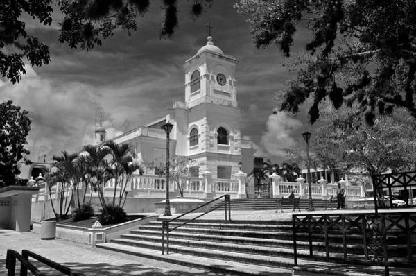 Photograph - Fajardo Church And Plaza B W 8  by Ricardo J Ruiz de Porras