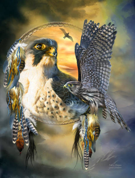 Mixed Media - Falcon Dreams by Carol Cavalaris