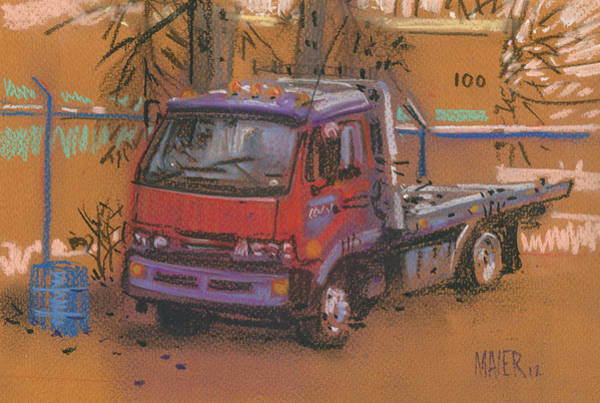 Truck Drawing - Falcon Wrecker by Donald Maier