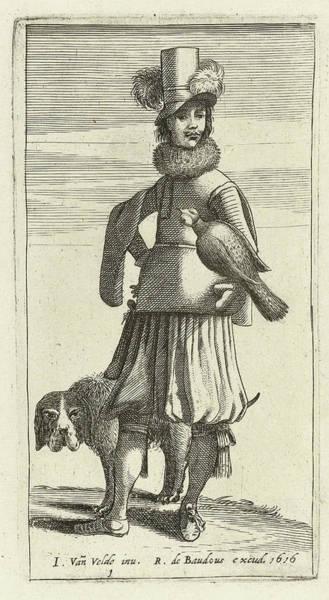Wall Art - Drawing - Falconer With Hunting, Jan Van De Velde II by Jan Van De Velde (ii) And Robert De Baudous